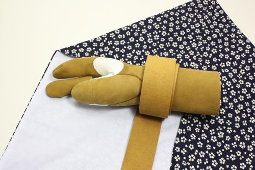 弓具 弓かけ中離 三分縁 茶色 茶紐 手形合わせ